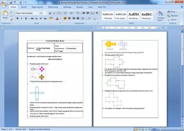 Contoh Soal UAS Matematika Kelas 5 Semester 2 Kurikulum 2013