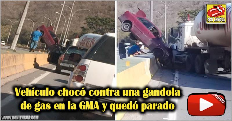 Vehículo chocó contra una gandola de gas en la GMA y quedó parado