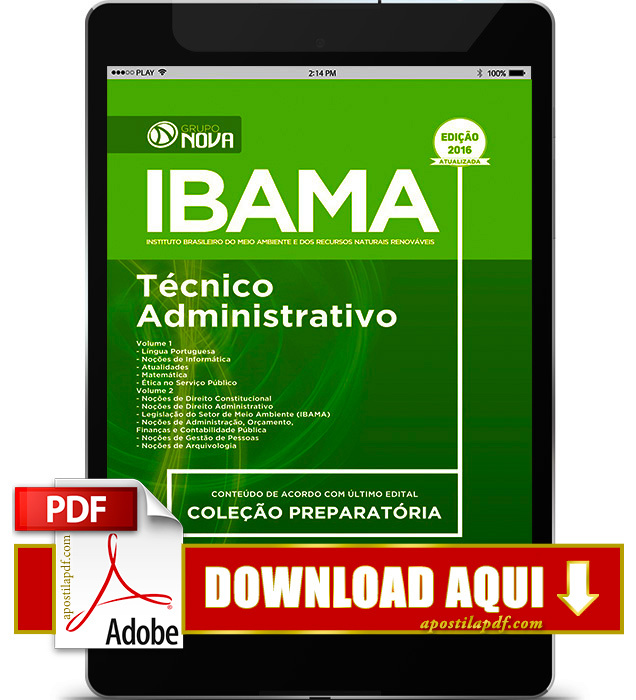 Apostila Ibama 2016 PDF Download Técnico Administrativo