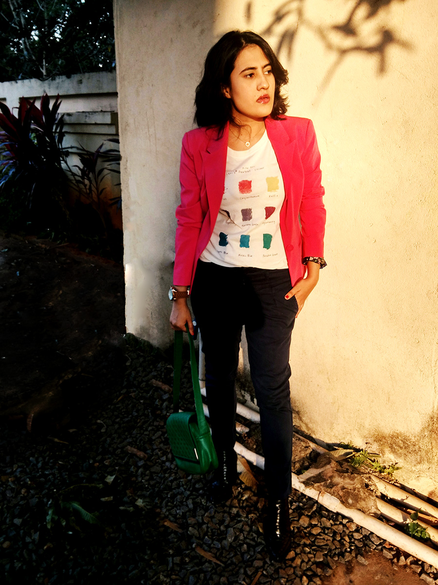 Levi's graphic tee,Zara blue Trouser, Mango shoes,Only pink blazer