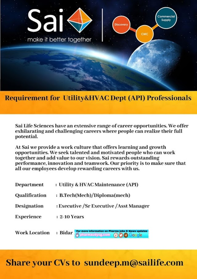Sai Lifesciences | Requirement for Utility &HVAC professionals at Bidar Location
