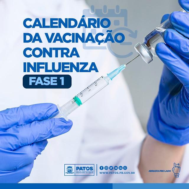 Patos inicia campanha de vacinação contra a influenza nesta terça (13). Confira calendário!