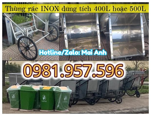 Xe đẩy rác tay 400L, xe đẩy rác inox 500L, xe gom rác đẩy tay