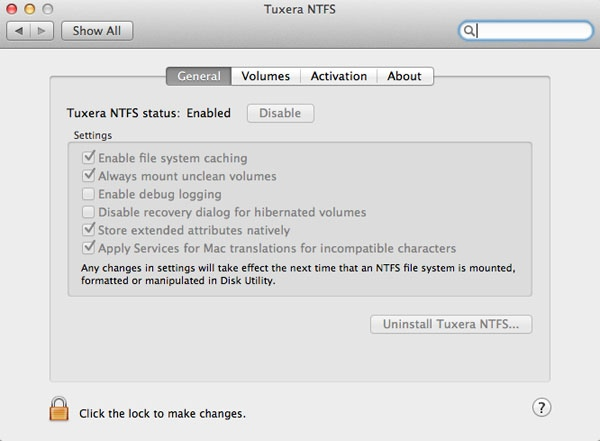 Enable write access to NTFS formatted drive using Tuxera NTFS