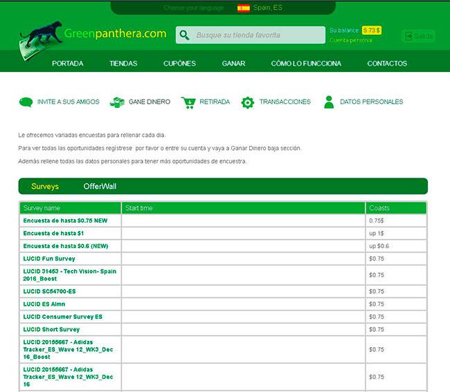 Encuestas recibidas Green Panthera