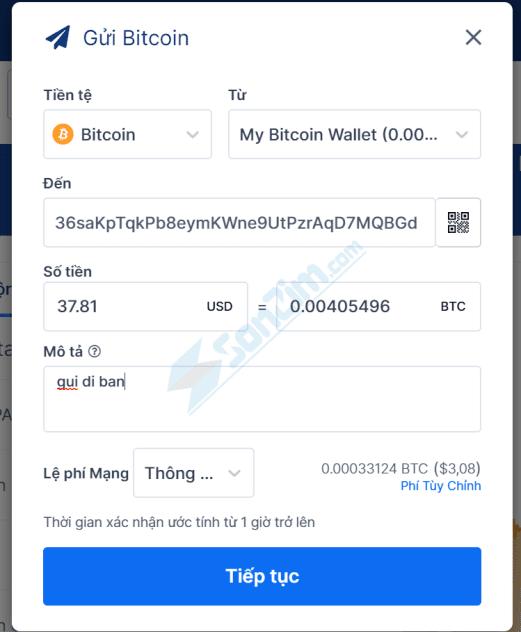Cách gửi Bitcoin và các loại tiền điện tử khác trên Ví Blockchain - 2