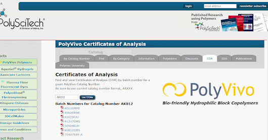 PolySciTech certificates of analysis now available directly on the website