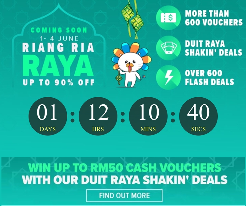 Lazada, Riang Ria Raya, Shakin' Deals, cash vouchers, Raya shopping, flash deals, Techy Rawlins, Rawlins GLAM