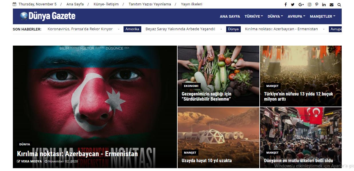 Dünya Gazete sitesi