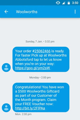 A screen shot of a scam SMS from a legitimate sender.