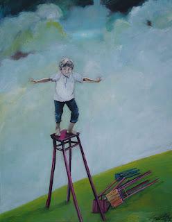 moderne kunst,kunst, maleri, galleri, humor, overblik, flyve, olie på lærred, dreng, landskab, Ayoe Pløger