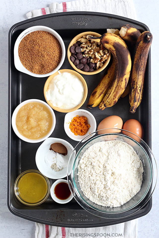 Ingredients For Making Banana Bread with Applesauce & Yogurt