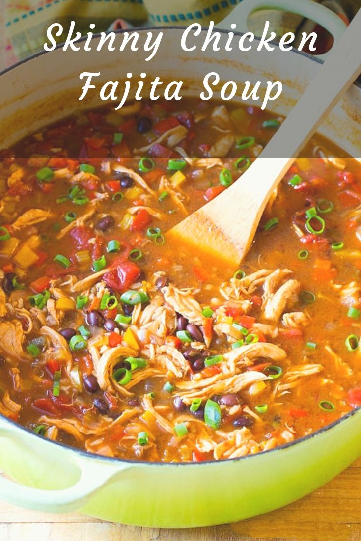 Skinny Chicken Fajita Soup is a zesty, low fat, gluten free meal with an easy low carb option! This skinny soup recipe is exactly what you need.