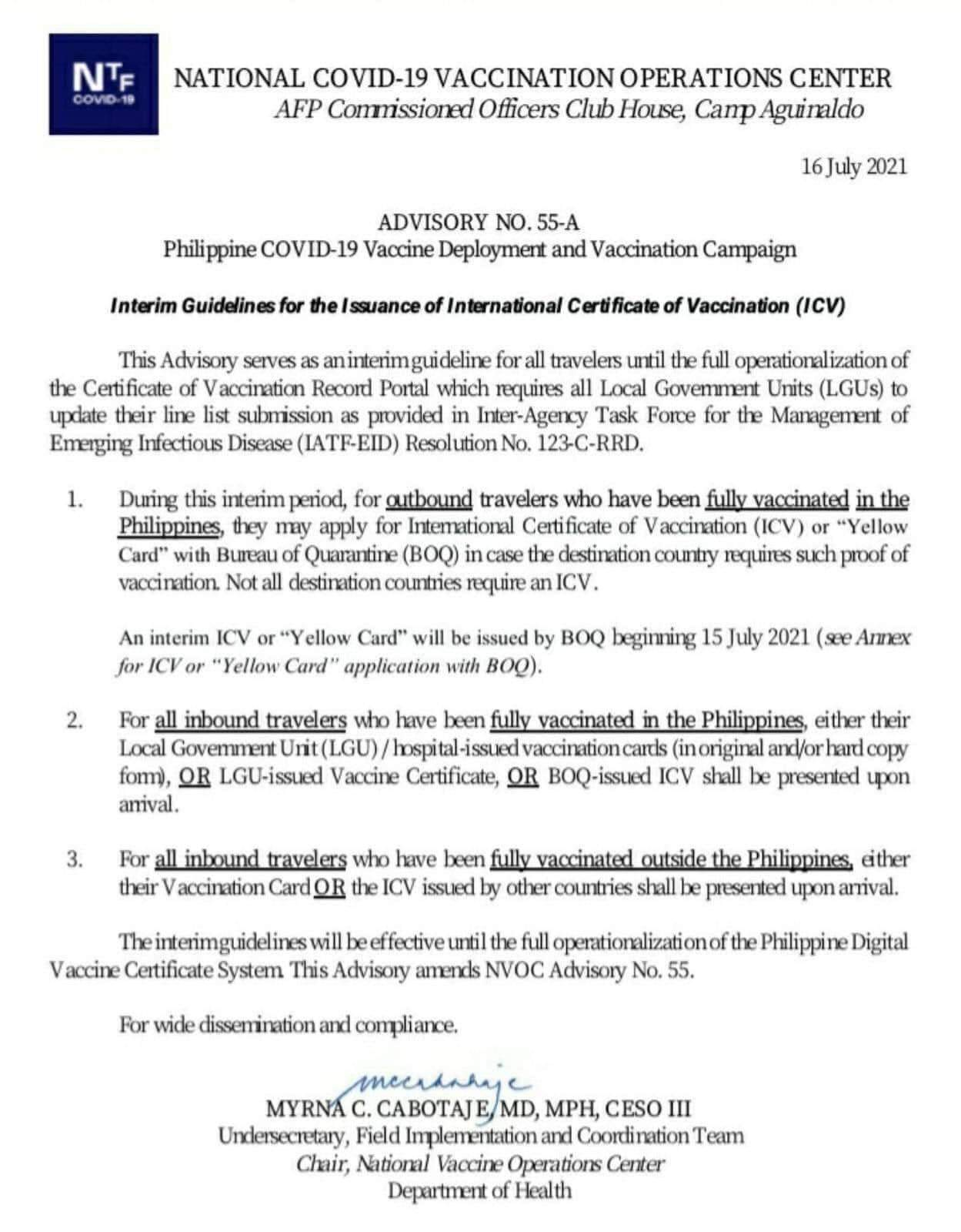 """Interim Guidelines for the Issuance of International Certificate of Vaccination (ICV) or """"Yellow Card"""" with the Bureau of Quarantine (BOQ)"""