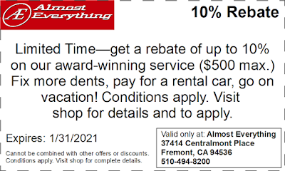 10% Rebate on Collision Repairs & Auto Body Work January 2021