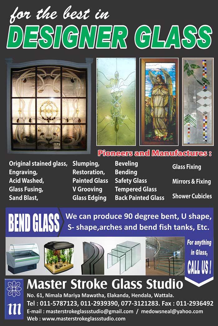 Master Stroke Glass Studio   Wide range of Designer Glasses and Bend Glasses.