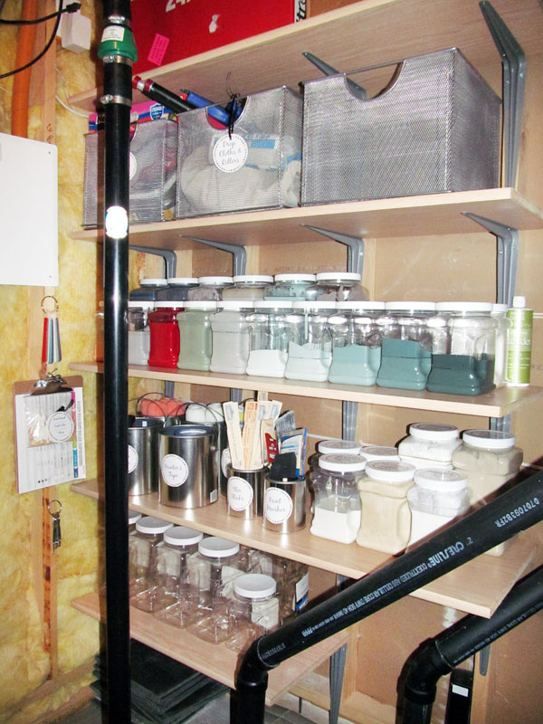 Think your small utility room doesn't have usable storage space? This utility room shelving solution can fit any tight space and allowed us to find the best way to organize paint supplies.