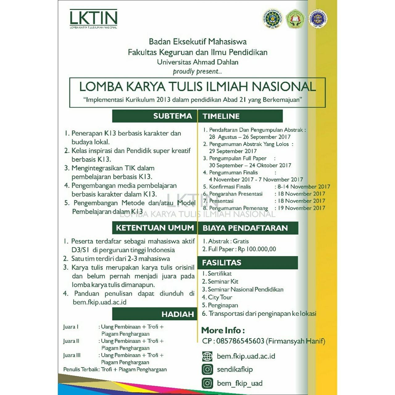 Lomba Karya Tulis Ilmiah - BEM FKIP UAD