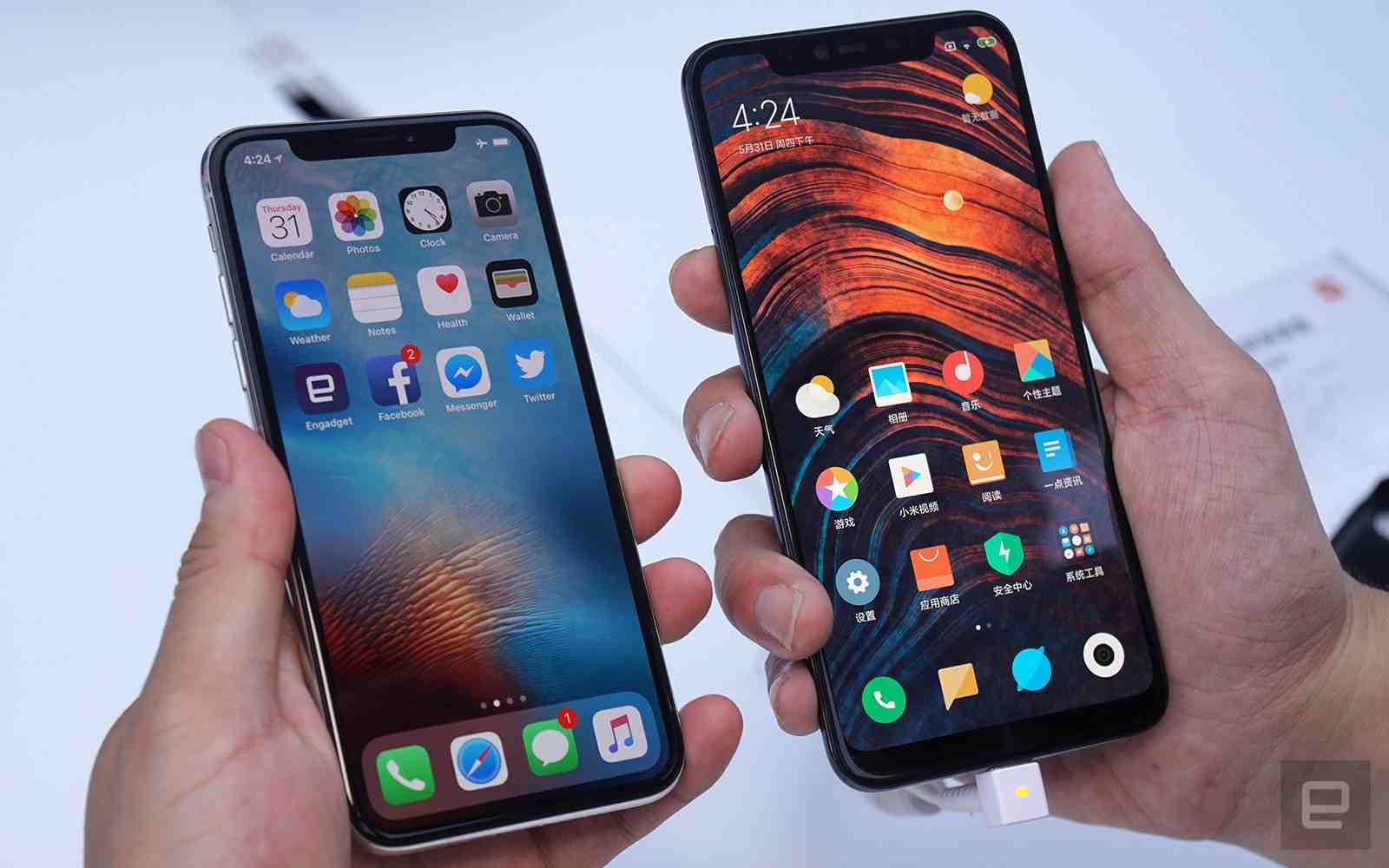 Xiaomi's Mi 8 Explorer  Vs Apple's iPhone X Front View
