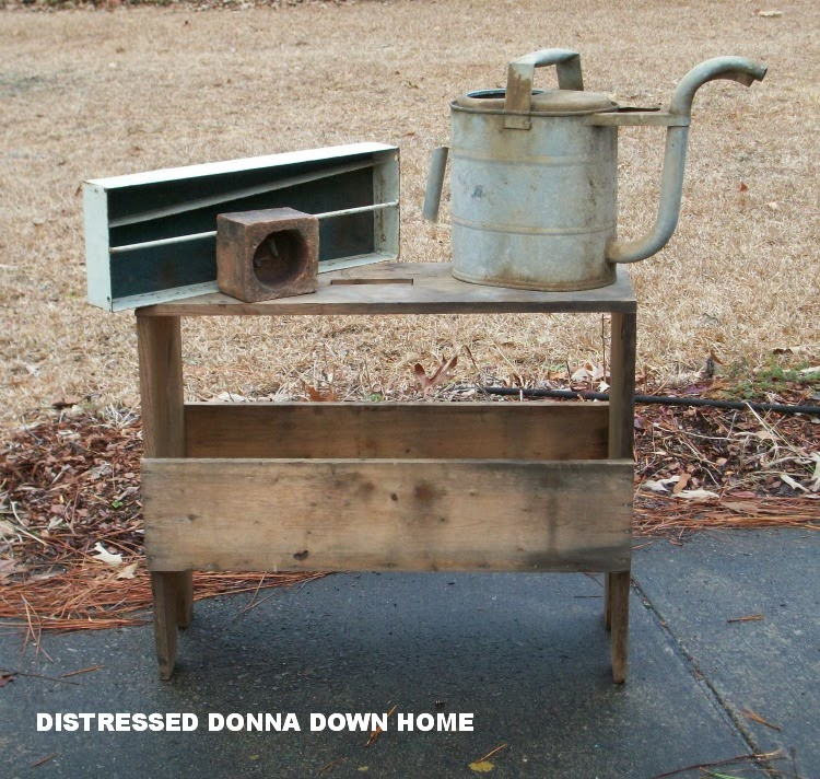 primitive furniture, tool caddies, water cans, vintage finds