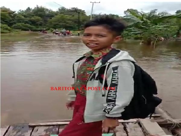 Curah Hujan Tinggi, Sungai Barito Meluap Hingga Merendam Jalan Juking Panjang