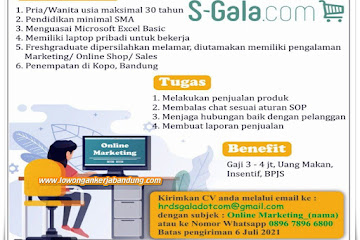 Lowongan Kerja Online Marketing S-Gala.Com