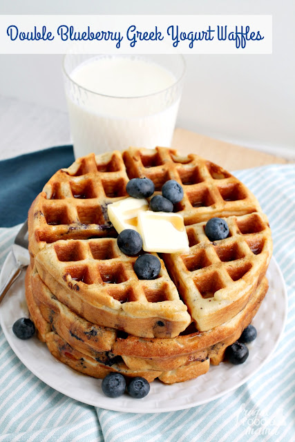 These fluffy & protein-packed Double Blueberry Greek Yogurt Waffles are a tasty & filling way to start your day.