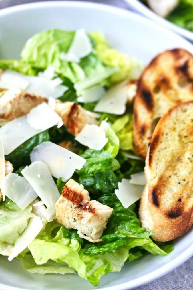 Grilled Chicken Caesar Salad with a creamy dressing