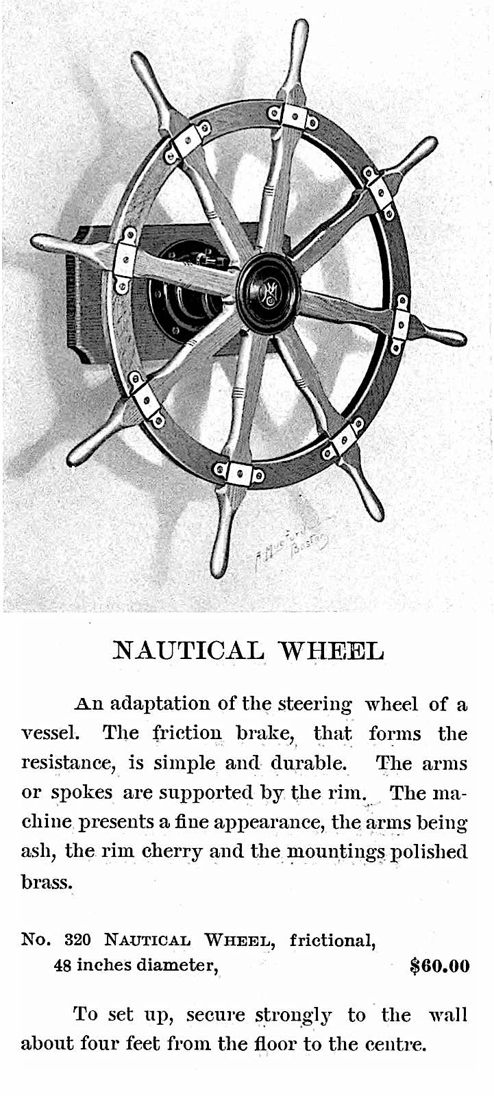 1905 excercise wheel, the nautical wheel, an illustrated advertisement