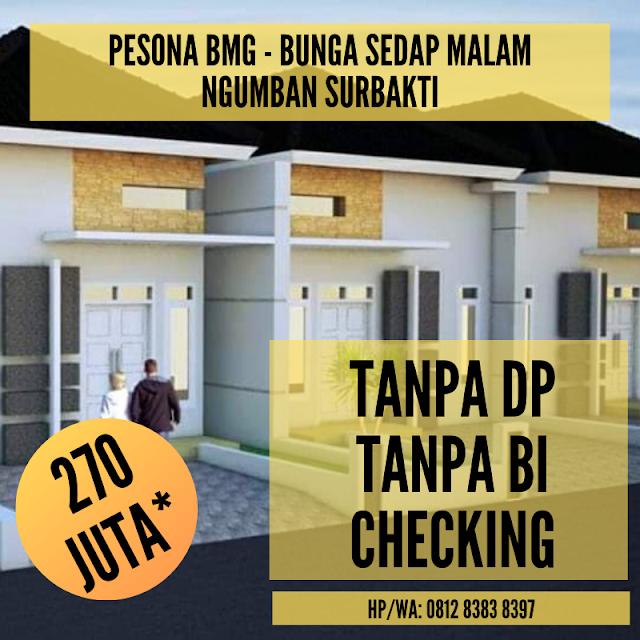 Jual Rumah Tanpa DP, Tanpa BI Checking, Cicilan Sampai 10 Tahun, Tipe 45 Di Sedap Malam Ngumban Surbakti Padang Bulan Medan
