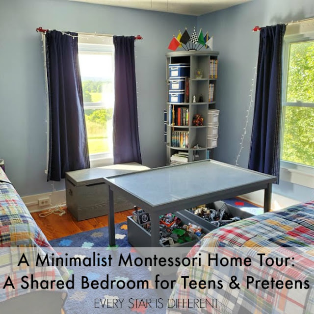 A Minimalist Montessori Home Tour: A Shared Bedroom for Teens and Preteens