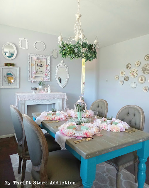 blush and jadeite spring tablescape