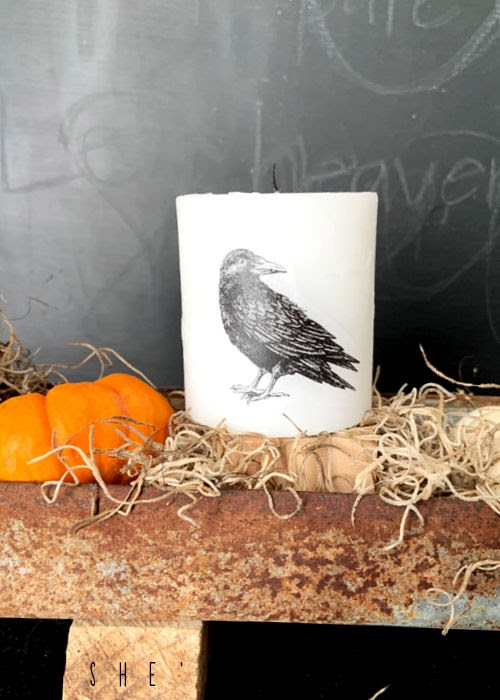 Halloween Candle - how to add an image to a blank candle