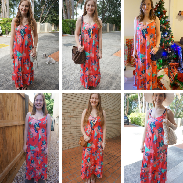 same dress, different day, 6 ways to wear the kmart tropican floral print tiered maxi dress in coral dressed up and down awayfromtheblue