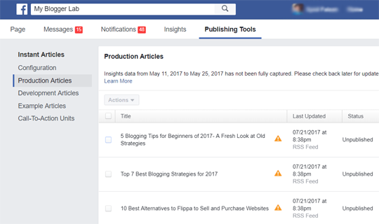 Production Articles Blogger RSS Feeds