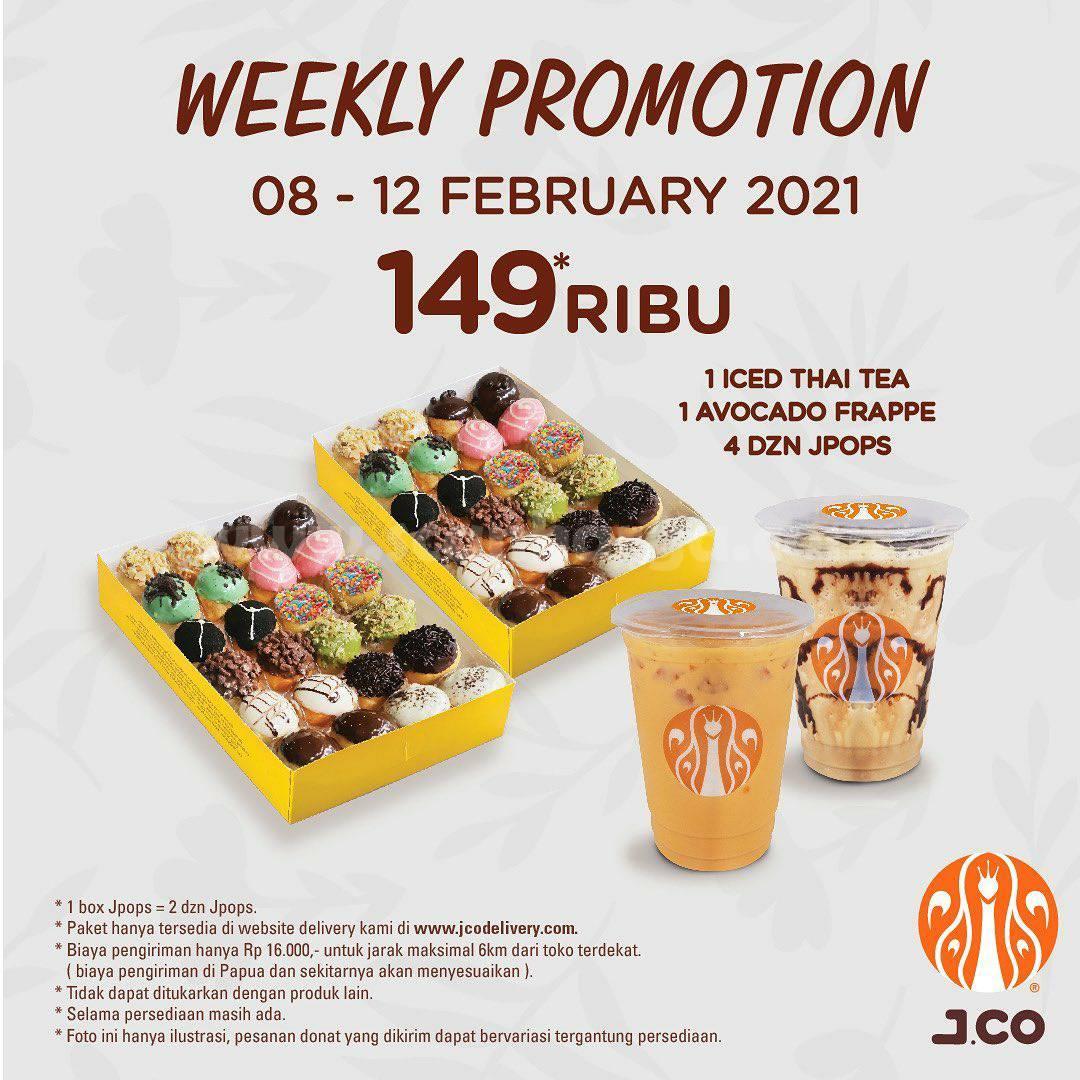 JCO Weekly Promotion – Harga Spesial 4 lusin JPOPS + 2 Minuman cuma 149Ribu