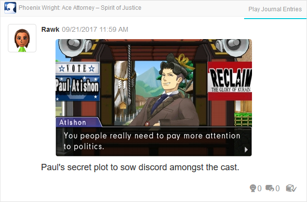 Phoenix Wright Ace Attorney Spirit of Justice Paul Atishon pay more attention to politics