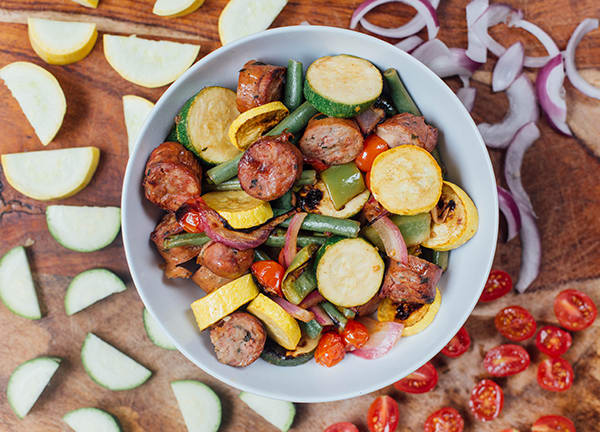 Marinated summer vegetables with sausage. 21 Day Fix approved