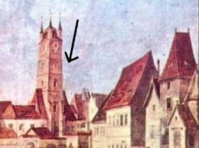 Turnul Sfatului reprezentat în pictura lui Franz Neuhauser jr., într- altă formă decât cea de astăzi