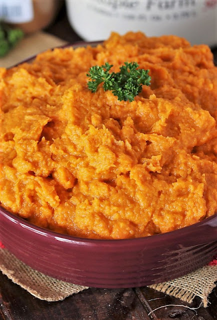 Maple Mashed Sweet Potatoes in Serving Dish Image