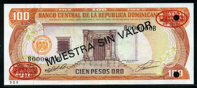 Dominican Money 100 Pesos banknote currency notes 1991 Casa de la Moneda