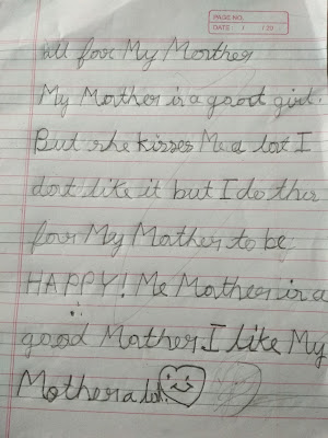 Handwritten note from my daughter