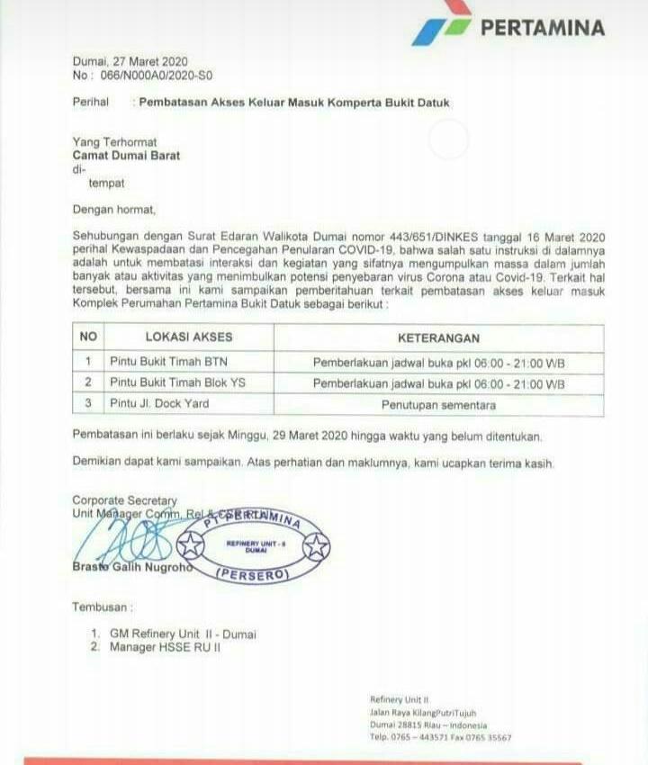 Cegah Covid-19, Gerbang Komplex Perumahan Pertamina RU II Dumai Ditutup Sementara