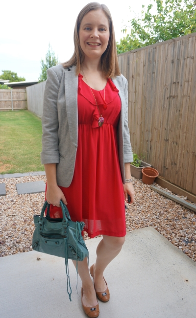 ruffle dress autumn office outfit with grey blazer and turquoise Balenciaga first bag | awayfromblue