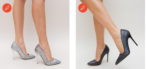 Pantofi negri, argintii din glitter moderni frumosi si ieftini