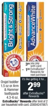 CVS Freebie Arm & Hammer Toothpaste 10/13-10/19