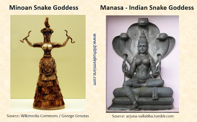 The Minoan Snake Goddess has an almost exact counterpart in Manasa, the Indian Snake Goddess