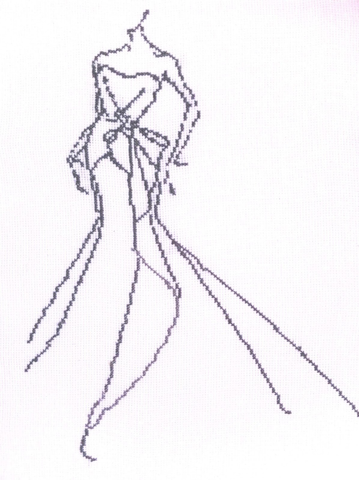 cross stitch fashion sketch