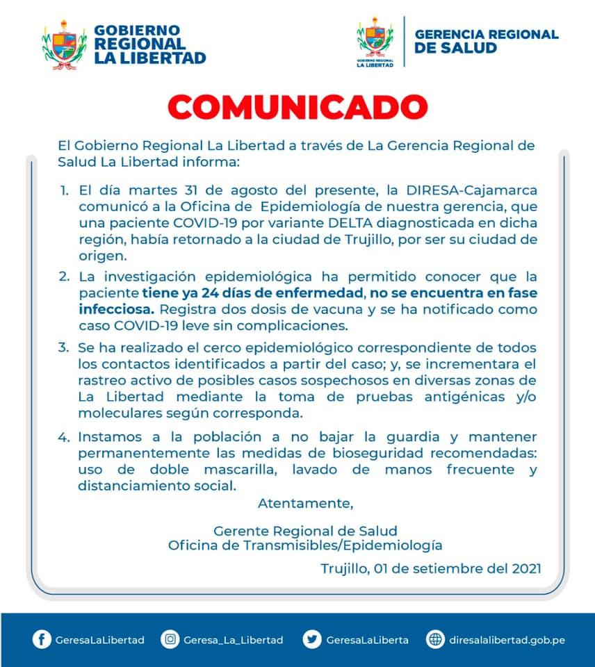 Aún no se han confirmado casos de variante Delta en Trujillo