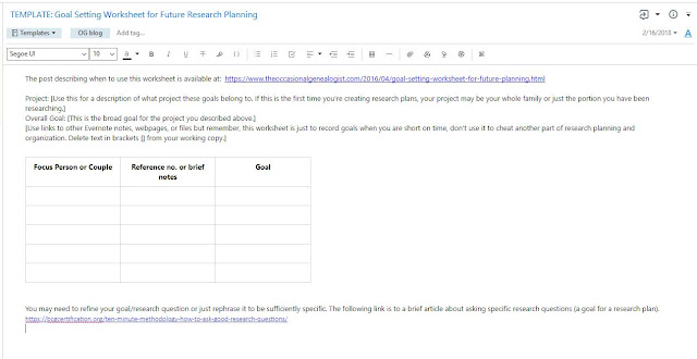Evernote for genealogy, goal setting worksheet for future research planning